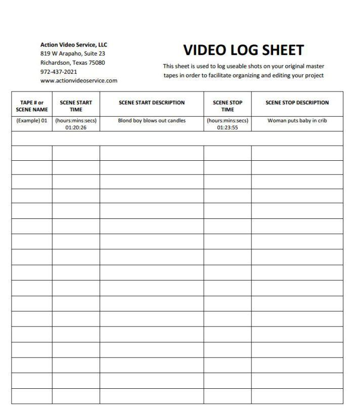logging sheets for editing lovelybom
